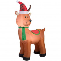 6' Lighted Inflatable Reindeer with Santa Hat