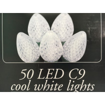 50 LED C9 Cool White Christmas Lights