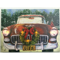 Antique Car with Wreath Picture on Canvas