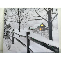 Snow Covered Lighted Fence & House Picture on Canvas