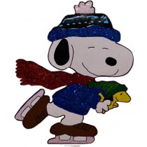 "18"" Peanuts Snoopy Ice Skating with Woodstock Hammered Metal"