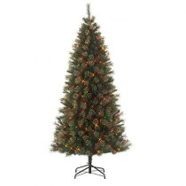 7' One Plug Slim Cashmere Christmas Tree with 500 Multi Lights by Jaclyn Smith
