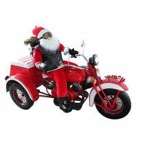 Life-Size Christmas Outdoor Santa Claus Three-Wheel Motorcycle Trike Christmas