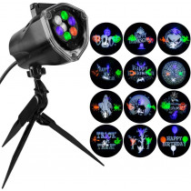LED Color Whirl-A-Motion Strobe Light Stake with 12-Changeable Halloween Slides