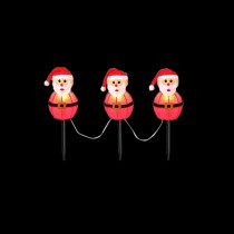 19 in. 3-Light Santa Pathway Lights Outdoor Christmas Decoration