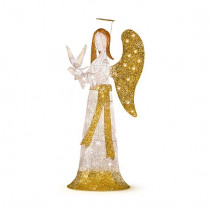 5' Lighted Praying Angel with Dove