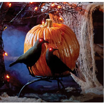 Crows On Branch Pumpkin Holder Display Stand Halloween with Light Up Eyes