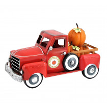 Red Metal Autumn Harvest Truck with Removable Pumpkins