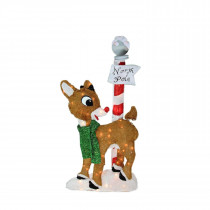"32"" Pre-Lit 2-D Rudolph with North Pole"