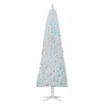 7' White Brinkley Pine Slim Tree; Blue Lights