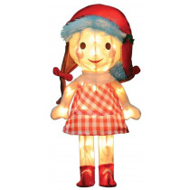 24-Inch Pre-Lit 3D Misfit Sally Doll in Santa Hat
