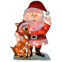32-Inch Pre-Lit Santa and Rudolph 2D Decoration