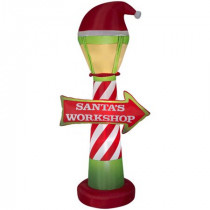 7 ft. H Inflatable Santa's Workshop Lamp Post and Sign