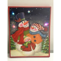 Snowman Family Picture on Canvas