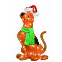 24-Inch Pre-Lit 2D Scooby Doo with Santa Hat