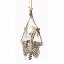 Life-Size Animated Hanging Skeleton Prisoner with LED Illumination