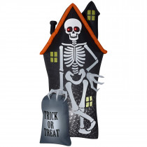 8' Projection Airblown Skeleton and Haunted House Tombstone Scene Inflatable