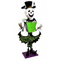 4.3ft Tall Metal Skeleton Man with 'Happy Halloween' Banner