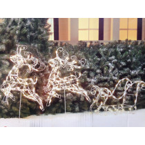 3pc Wire Frame Reindeer with Sleigh Lighted Christmas Decoration