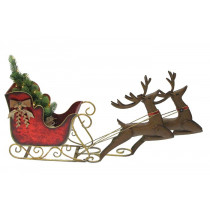 Small Santa Sleigh and Reindeer with LED Christmas Tree