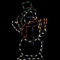 32 in. Animotion LED Waving Snowman Christmas Wire Decor