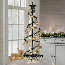 "36"" Metal Spiral Christmas Ornament Display Trees"