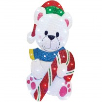 "28""LED Glittering Metal Polar Bear with Candy Christmas Decoration"