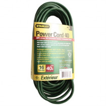Stanley Grounded Outdoor Extension Power Cord, 40-Feet, Green