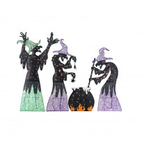 Wicked Witches with Cauldron Halloween Decor