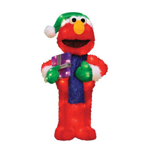 28-Inch Pre-Lit 3-D Elmo with Gift Box Christmas Decoration