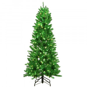 6 ft. Pre-Lit Shiny Green Fraser w Warm White & Green Color-Changing LED Lights