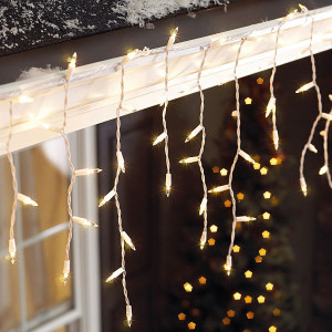 300 Clear Icicle Lights White Wire Christmas Lights