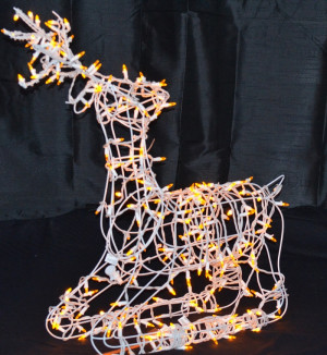 LED Lighted Wire Frame Reindeer Sitting Buck