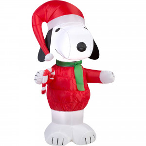 5'  Snoopy with Candy Cane Airblown Inflatable