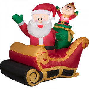 Santa with Sleigh & Elf Airblown Inflatable